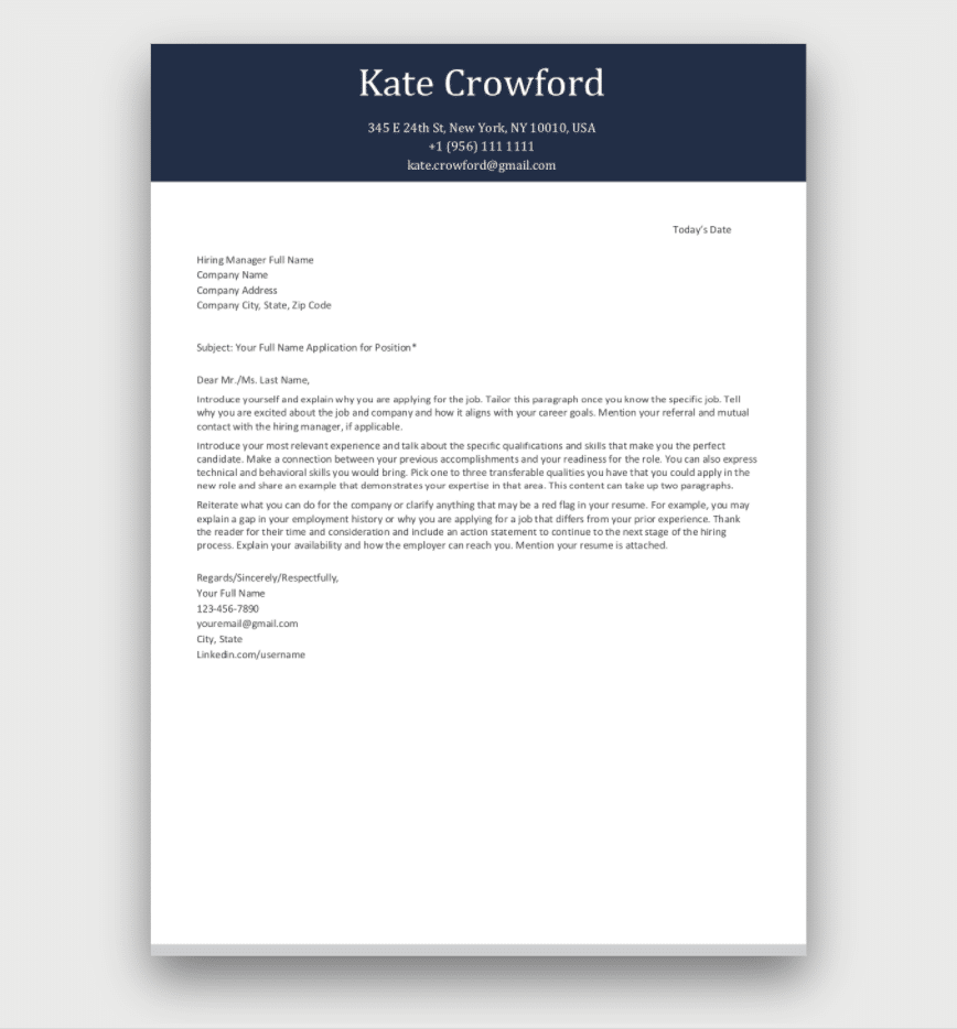 Company Cover Letter Template Download
